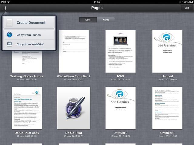 Para crear un documento nuevo toque en el + en la parte superior izquierda. Siguiente toque el botón Nuevo documento.