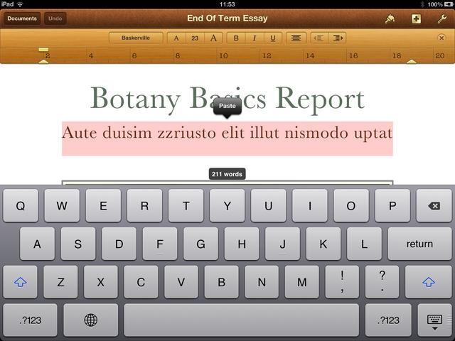 Al tocar en cualquier lugar de un área de texto en el documento se abre el teclado virtual.