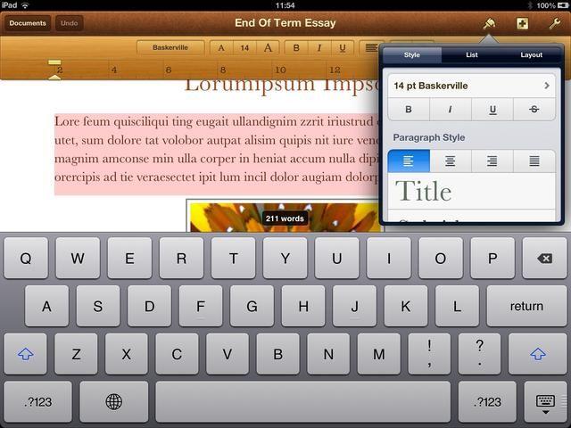 Seleccione un elemento de documento (texto, imágenes, etc) y luego puntee en el icono de pincel en la barra de menús aparecerá un menú contextual. El contenido del menú depende de lo que haya seleccionado en el documento.