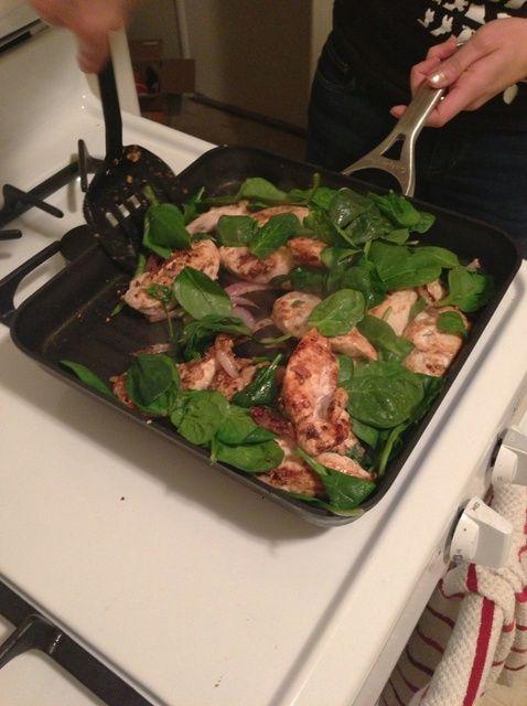 Cómo Grill saludable ajo espinacas pollo Receta