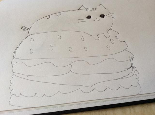 Después, dibujar cualquier tipo de hamburguesa bajo pusheen.