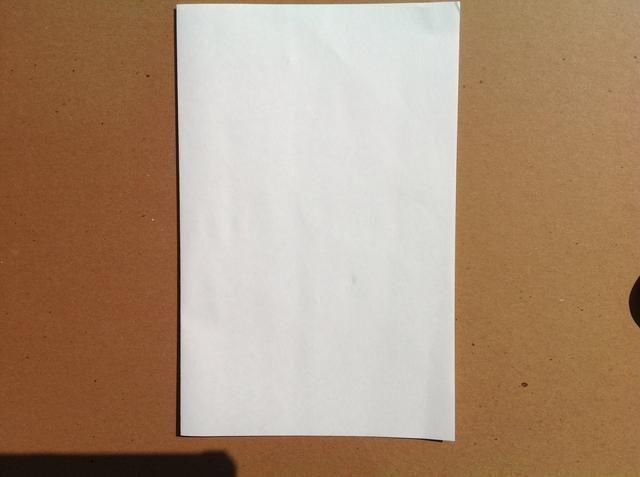 Dobla el papel por la mitad, de izquierda a derecha. Esto también se conoce como un pliegue libro. Asegúrese de pliegue sus pliegues ejecutando el pulgar sobre ellos para que los pliegues se acueste.