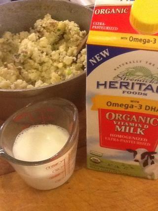 Añadir media taza de leche para que sean cremosa!