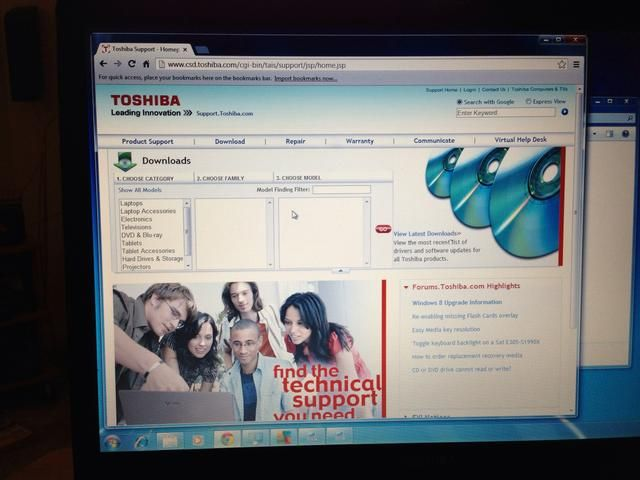 Toshiba le permite navegar por una lista o escriba el número de modelo. Hazlo ahora. Si no't know what model your computer is, it's on the bottom of your laptop or back of your tower.