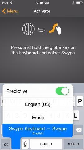 La aplicación va a dirigir a tocar el mundo y sostenga para ver Swype