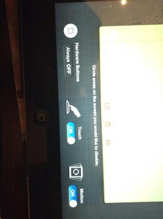 Los botones de la parte inferior le permitirá elegir si el botón de inicio se puede utilizar, si la pantalla se puede tocar, o si el dispositivo se pueden girar.