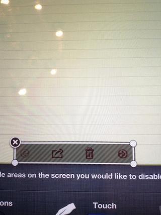 También puede rodear áreas de la pantalla que no va a ser capaz de tocar, por ejemplo, esta área se apaga todas las opciones para notas.