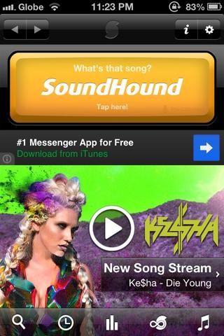 Ábrelo Toque SoundHound cuando escuchas la música. duerma importa en qué parte de la canción (inicio - fin) que lo detectará. pero es más rápido en coro.