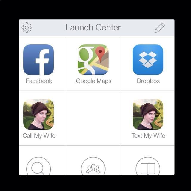 En el interior, puede configurar las acciones individuales y colectivas para acceder a las aplicaciones en el iPhone. Haga clic en el icono de lápiz para crear una nueva acción.
