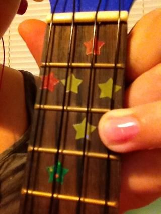 Dejar's say the tab says 3 on the A string, this is what it would look like.