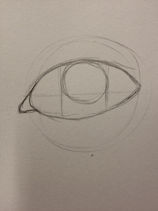Utilice sus directrices tercios para colocar un círculo en el centro. Esta será la pupila y el iris.