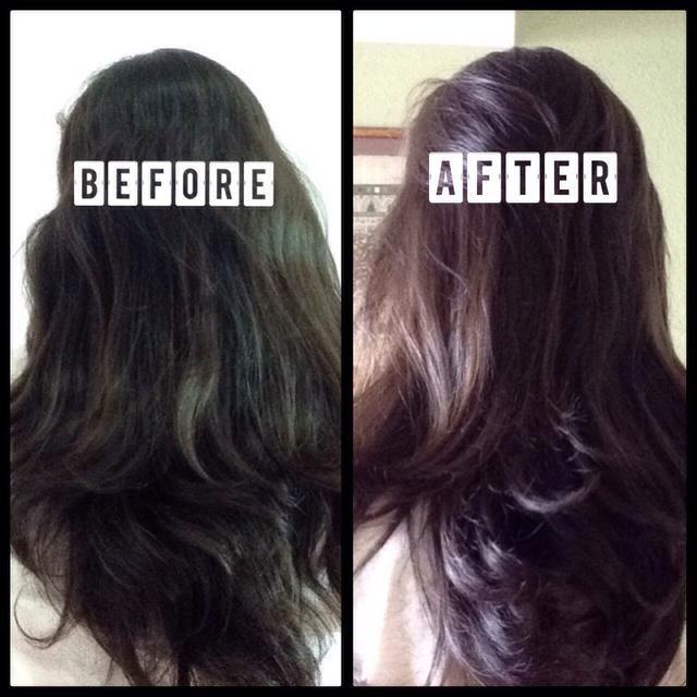 TADA! Mi cabello se convirtió en un tono más claro de color marrón y parece ligeramente roja bajo el sol :) tuve que lavar 2 veces para obtener toda la canela completamente fuera! Pero huele increíble :)