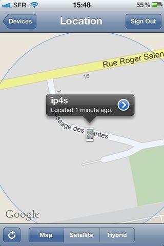 Aquí está mi iPhone con el mapa zoom para mantener un poco de privacidad ☻ ahora pulse sobre la flecha pequeña con el fin de acceder a las opciones