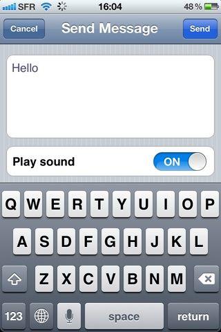 Ahora escriba el mensaje de su elección pero para este grifo de guía en el juego de sonido y puntee en Enviar