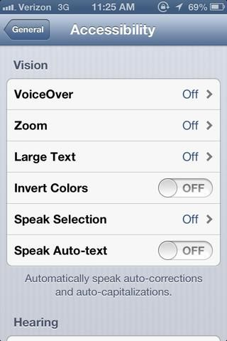 Una vez que tú're in the Accessibility tab, scroll down to the bottom to find the Physical & Motor section.