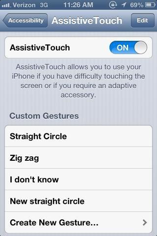 Gire el AssistiveTouch sucesivamente. A continuación, una pequeña plaza transparente con un círculo blanco en el centro con aparecer en la esquina superior derecha de la pantalla.