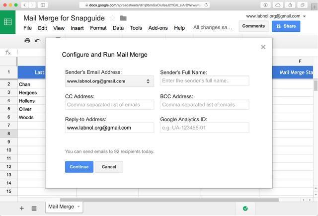 Elija el menú Combinar Run Correo para abrir el asistente. Seleccione el alias de Gmail y los correos electrónicos serán enviados en nombre de esta dirección. Ingrese su nombre, mientras que los otros campos son opcionales. Haga clic en Continuar.