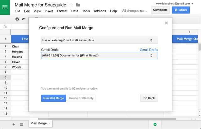 Seleccione Gmail como el tipo de plantilla, elija el proyecto de Gmail que acaba de crear y haga clic en el botón Correo Run fusionan para enviar sus correos electrónicos.