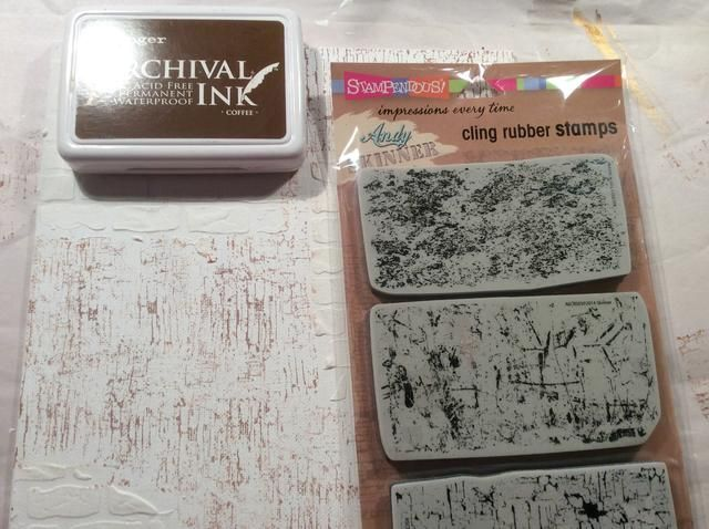 Estampado mi astillado sello de pintura en las áreas que no fueron estarcido. Si usted disfruta de técnica mixta Yo recomendaría conseguir estos Andy Skinner sellos textura.