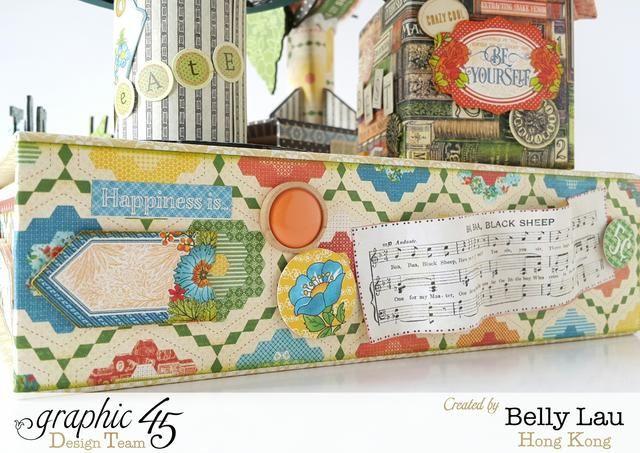 Por el lado de la caja de planificador, cortar algunas piezas de papel y el uso de algunas pegatinas para decorar