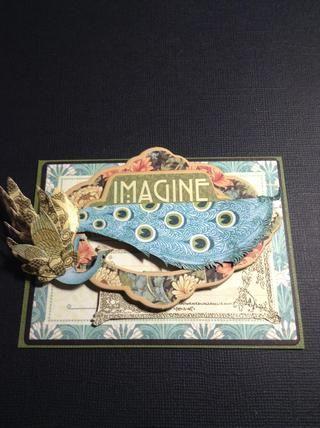 Pegue todo, el pájaro, el artesano estilo decorativo aglomerado, las flores ... y tengo que usar el Cling sello G45 Artesano Estilo 2 y he impreso esto en mi tapa de la tarjeta.