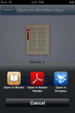 Después de que hace que el PDF Se le preguntará qué aplicación que desea abrir en. (EN IOS 6.0 así es como se ve.) Elija ABIERTO EN iBooks.