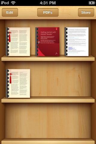 iBooks se abrirá, y el libro será puesto en la estantería. Toque en su libro.