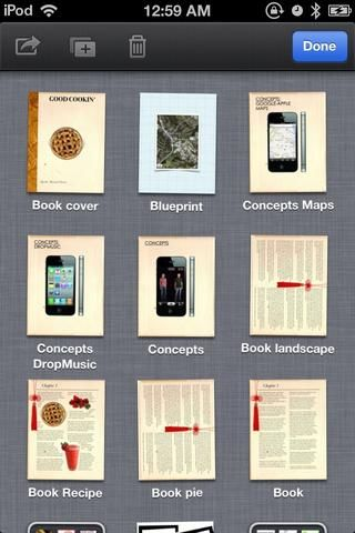 Los documentos empiecen a moverse lateralmente. Toque el libro que ha realizado.