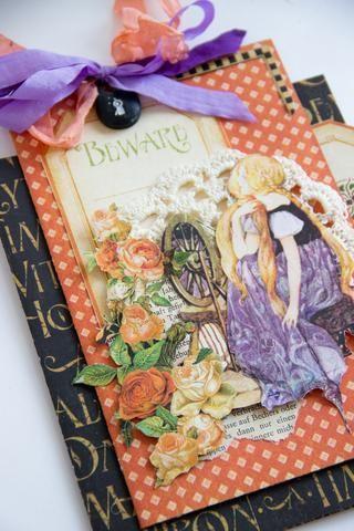 Decoración de una tarjeta con una etiqueta, una princesa, algunas rosas y con un arco. Puede agregar un tapete y book`s hoja tierna de punto.