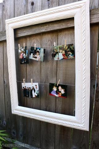 Añadir pequeños ganchos de ropa para el cable. Ahora ya está listo para agregar fotos a su marco de fotos cambiante terminado! ¡Disfrutar! - Para obtener consejos, echa un vistazo a Glidden's blog at MyColortopia.com.