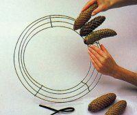 Cuña los extremos de los tallos de los conos húmedos entre los alambres superiores e inferiores.