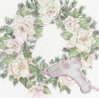 Agregue sólo un toque de pegamento para las magnolias para mantenerlos en su lugar.