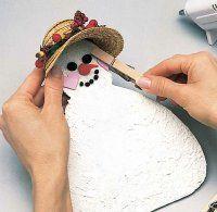 Envuelva la parte posterior del sombrero alrededor del muñeco de nieve's head so it fits snugly.