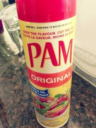 yo'm using Pam cooking spray to grease my pan. Highly recommended.