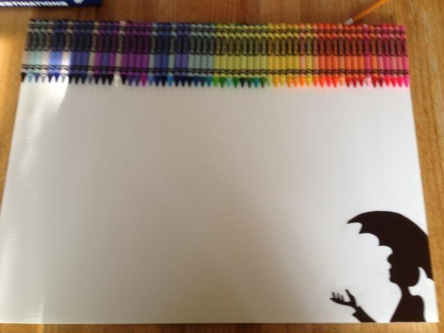 Se trata de un extremo a otro, se ve mejor cuando los lápices de colores ocupan todo el ancho. NOTA: Antes de soplar seca asegúrese're in cloths you don't care about! Colors scatter