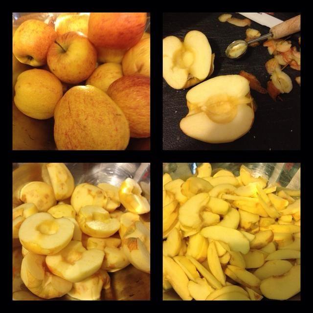 Manzanas! Lavar, pelar, cortar y manzanas centrales. Usé un melón para sacar fuera del núcleo. Cortar las mitades en rodajas bastante finas. Usé mucho más manzanas de la receta.