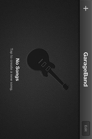 Abra Garageband y toque el GRIS +.