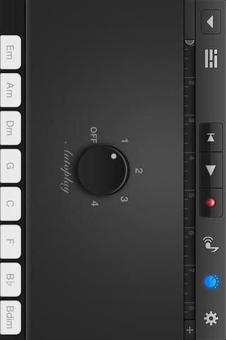 Este es el teclado inteligente's AUTOPLAY feature. It will generate a tune automatically with just the tap of a finger. I set the dial to 1. Tap the grey dial icon again to exit.