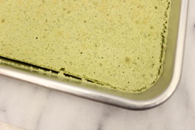 Deje que el pastel de cocinar en su molde durante 10 minutos sobre una rejilla para enfriar. A medida que la torta se enfría, se'll see the cake pull away from the edges of the pan.