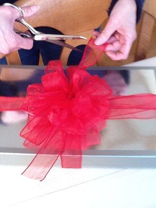 Corbata de lazo en el paquete y recortar piezas laterales. Su paquete está listo para entregar