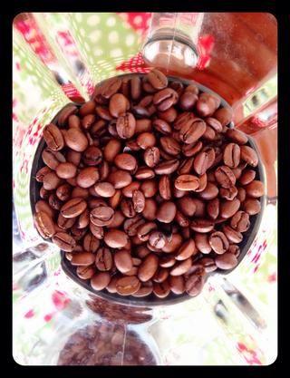 Comience con los granos de café frescos. Almaceno mis granos de café en el congelador. Utilice un molinillo de café o una licuadora para moler sus granos. Yo no't have a coffee grinder, but my blender works perfect!