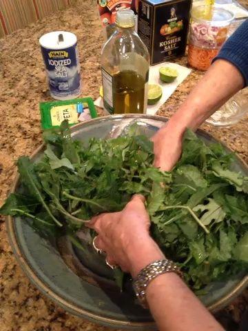 Usa tus manos (! Limpios) y mezcle con cuidado la col rizada en el jugo de cítricos, aceite de oliva, y sal.