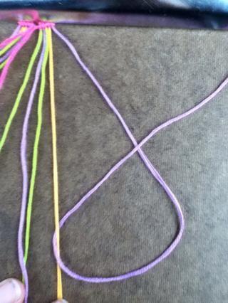 Tire de la cadena bajo la cadena de base (de color naranja en este caso), más adelante.