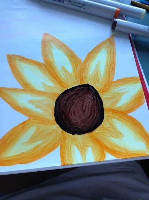 Cómo hacer una flor Usando Copic Sketch Marcadores