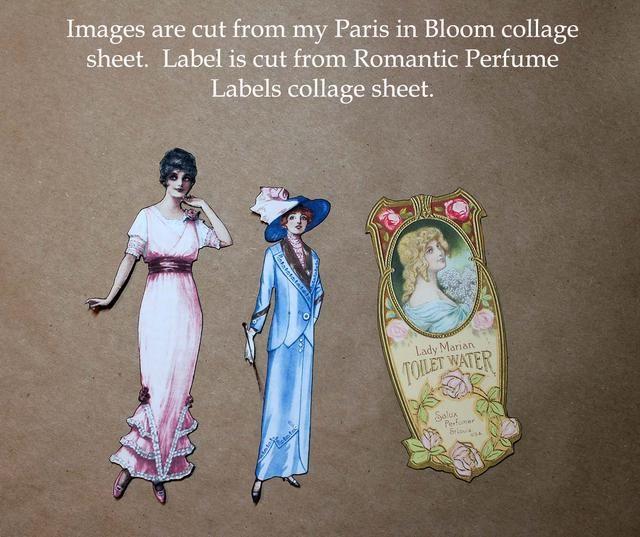 Cortar las imágenes de la París en Bloom y etiquetas Perfumes hojas collage románticos. Edge utilizando Vintage pluma de socorro Foto de eliminar los bordes blancos.