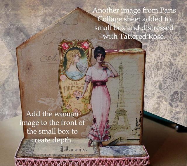 Añadir la etiqueta del perfume a un segundo plano. Añadir una imagen a la parte delantera de la caja pequeña. Añadir a la mujer al frente de la caja para dar profundidad.