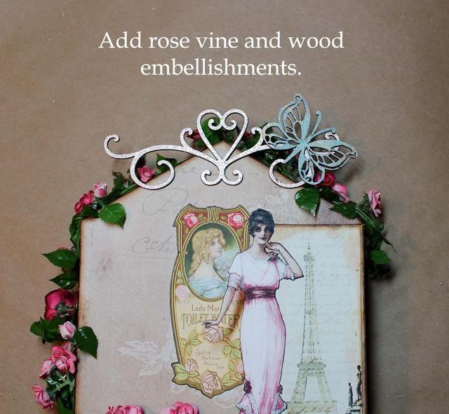 He añadido la guirnalda de rosas en primer lugar, a continuación, los adornos de madera. Necesitaba alimento básico de la guirnalda en un par de lugares para mantenerlo en su lugar, y luego pegué flores y hojas adicionales sobre las grapas para ocultarlos.