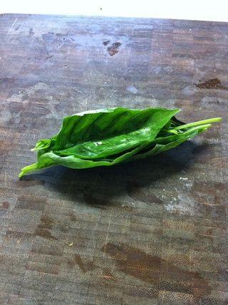 En primer lugar, cortar su albahaca. Nosotros're going to use a method called the
