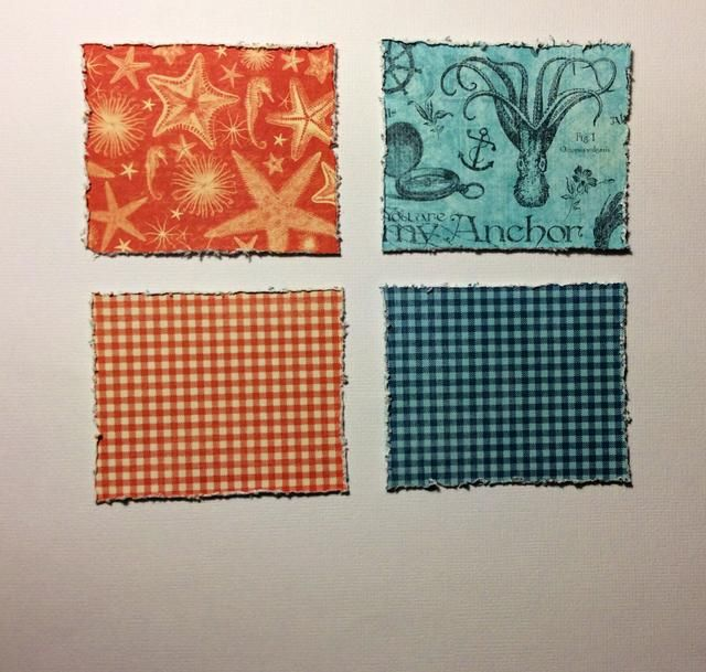 Cortar 4 rectángulos de 3 x 2 1/2 pulgadas de la por la almohadilla de papel mar 8 x 8. Distress bordes utilizando una herramienta angustiante o similar