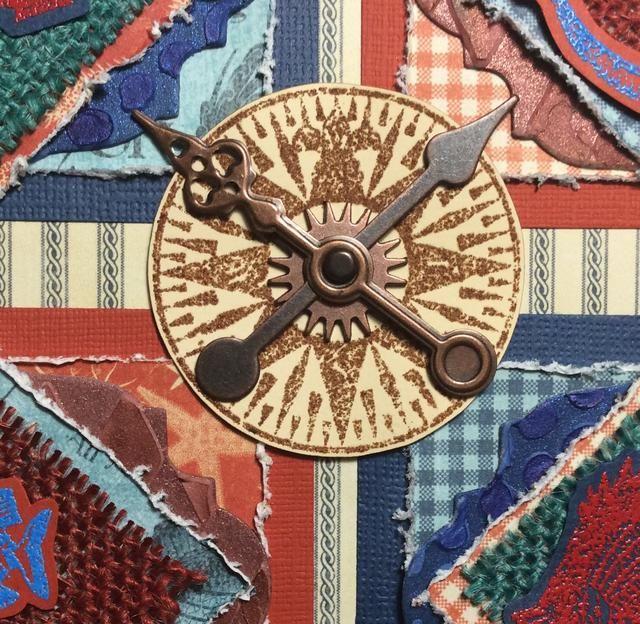 Conforman la unidad como se muestra brújula y el ancla en el centro del tapiz. Coloque las manecillas del reloj en forma de cruz.
